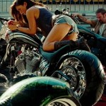 Megan Fox on a bike in Transformers 2
