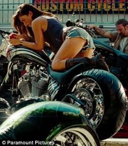 Megan Fox on a bike in Transformers 2